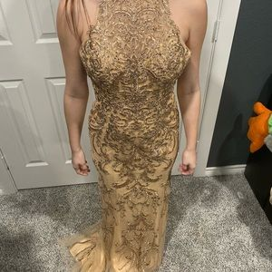 Nude/Gold Prom Dress